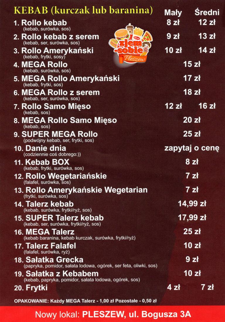 ZAHIR KEBAB PLESZEW menu 2 zjem-sobie.pl