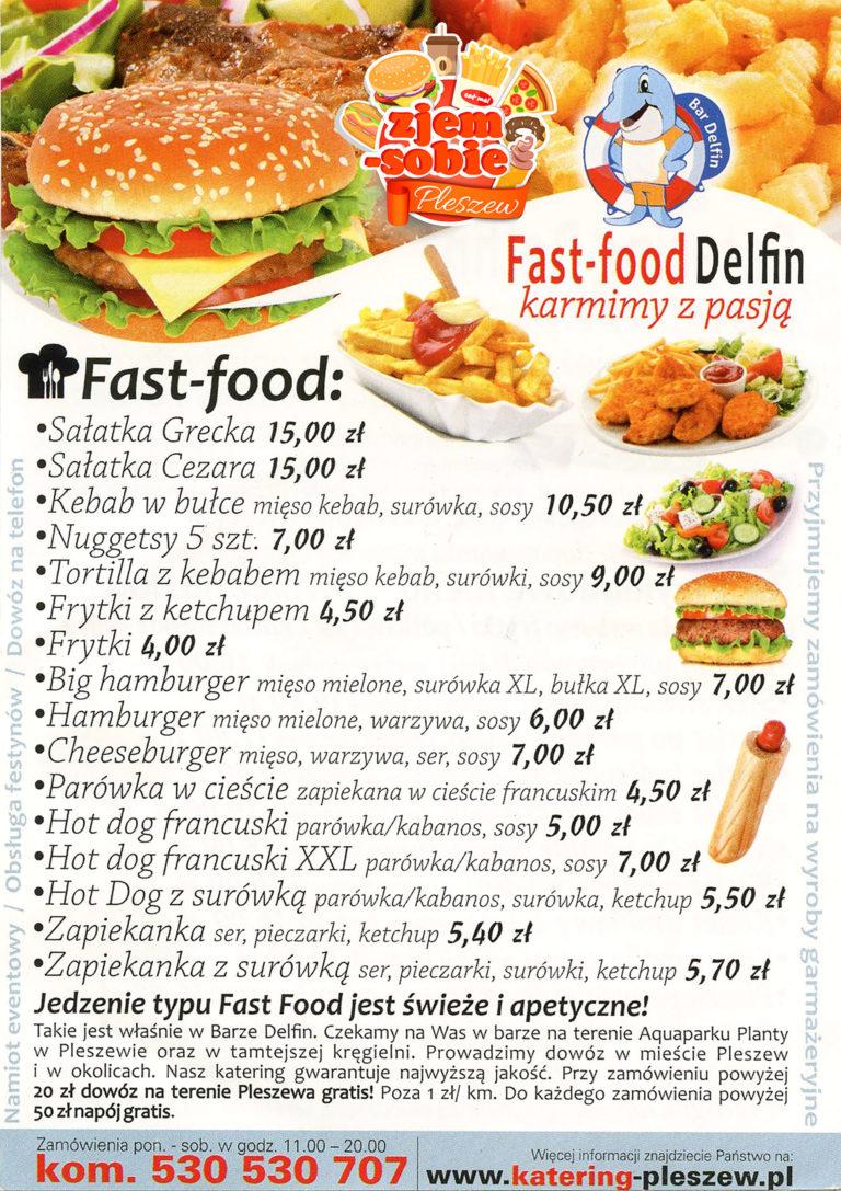 FAST FOOD DELFIN PLESZEW menu 1 zjem-sobie.pl